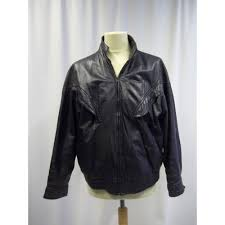 oxfam truro this good weight black leather blouson style jacket zip front cuff popper fastening shoulder hem 25 64cm chest 44 112cms