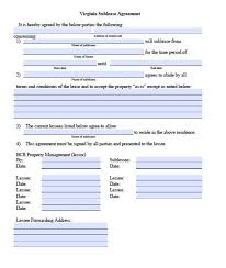 residential sublease agreement template. Free Virginia Sublease Agreement Form PDF Template