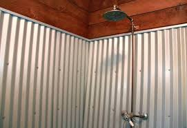 corrugated metal shower stall image bathroom walk in this tiny cabin sits right next to a working vineyard