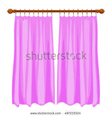Vector illustration of abstract violet Cartoon curtains on the ledge.