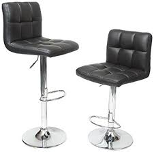 hydraulic bar stools. Roundhill Furniture Swivel Black Bonded Leather Adjustable Hydraulic Bar Stool, Set Of 2 Stools