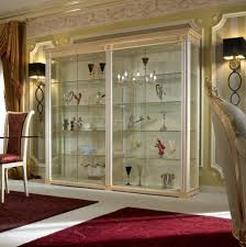 showcase in solid wood with glass doors exedra gold turri