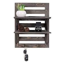 rustic wooden wall mounted organizer