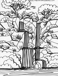 Waterfall 18 Nature Printable Coloring Pages Best Of Page Within
