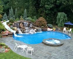 Inground Pool With Waterfall Backyard Swimming Pool Designs Backyard