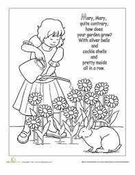 a2709f881271bab1d1827f05fefb23c6 nursery rhyme coloring mary, mary, quite contrary www on nursery rhyme printable books