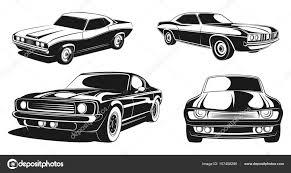 レトロな筋肉車のモノクロ イラスト セット黒のベクトル ストック