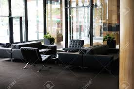 Luxury Hotel Lobby Interior With Modern Furniture Stock