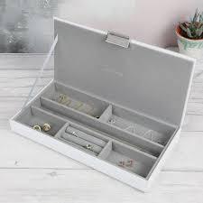 lisa angel las stackers glass jewellery box lid in white