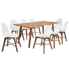 <b>Nine Piece Solid Acacia</b> Wooden Dining Set Table and Chairs ...