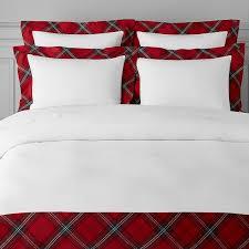 tartan border linen duvet cover full queen red