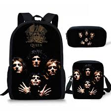 <b>THIKIN 3Pcs set</b> Students Bookbag Queen Band Bohemian ...