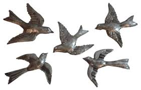 flying birds metal wall art sculpture 5 small flock birds home in most cur flying