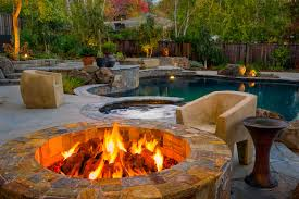 Covered patio with fire pit Pool Covered Patio With Fire Pit And Exterior Lighting Around Swimming Pool Antiqueslcom Covered Patio With Fire Pit And Exterior Lighting Around Swimming