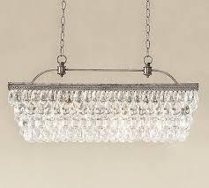 new in box pottery barn 899 clarissa crystal drop 30 rectangular chandelier