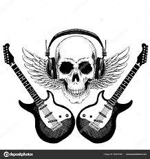 Cool Vektor Rockové Hudby Lebka S Sluchátka Za Tričko Emblém Logo