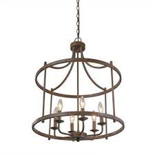 6 light bronze hanging lantern chandelier