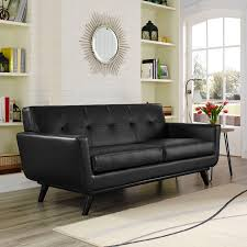 engage bonded leather loveseat black eei 1337 blk 4