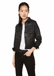 ag adriano goldschmied women s robyn coated denim jacket lacquered pure black