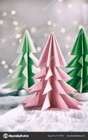 Paper Christmas Tree Lights Origami Xmas Tree Paper White Background Bokeh Lights Merry