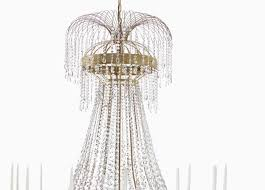 empire chandelier with 14 arms in polished brass with drop crystals 313 003 603 by gustavian in chandeliers
