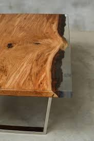 Custom Resin Table Made Of Oak Wood Epoxy Table With Polished Steel