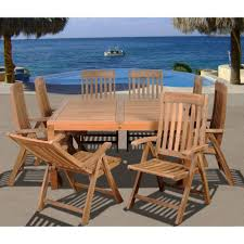 teak outdoor dining chairs. Amazonia Eiffel Square 9-Piece Solid Teak Patio Dining Set Outdoor Chairs