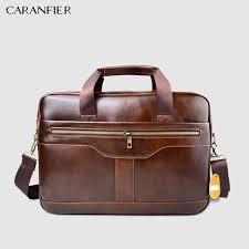 caranfier mens genuine cowhide leather briefcase business male handbags laptop bags men shoulder zipper fashion travel brown bag leather laptop bags leather