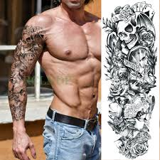 Us 196 Waterproof Temporary Tattoo Sticker Full Arm Skull Octopus Kraken Gun Devil Curse Tatto Flash Tatoo Fake Tattoos For Men In Temporary