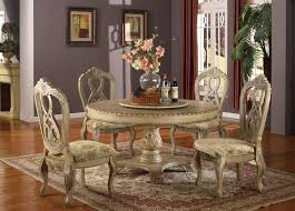 5 pc charissa ii collection antique white wood round pedestal dining table set with