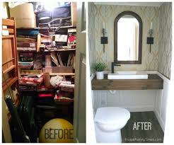 before and after basement bathroom from closet diy no rough in jpg
