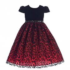 Little Girl Dress Patterns Delectable Crayon Kids Girls Black Red Animal Pattern Glitter Christmas Dress 48