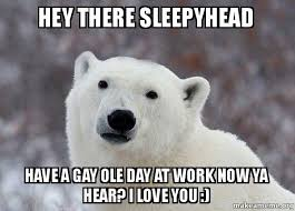 Hey there sleepyhead Have a gay ole day at work now ya hear? I ... via Relatably.com