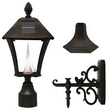gama sonic baytown solar black outdoor post wall light with bright warm white