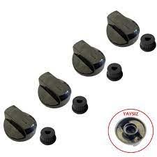 Silverline Düğme 4 lü Takımı Ankastre Set Üstü Ocak Düğmesi - Tip 4 Siyah  (YAYSIZ) Görselle Eşleştiriniz
