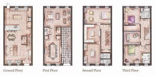 home inspiration adorable brownstone row house floor plans 3 d plan from brownstone row