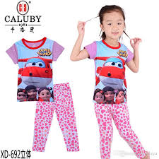 2016 baby super wings clothes whole two piece cartoon suit girls