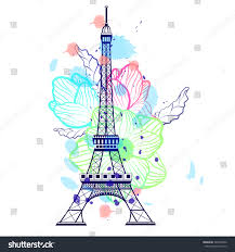 Drawingcolor Drawing Color Eiffel Tower Paris France Stock Vector 342090872