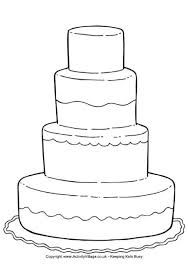 Small Picture Wedding Cake Colouring Page