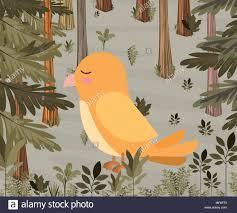 Yellow Bird Design Cute Yellow Bird In Forest Scape Scene Vector Illustration