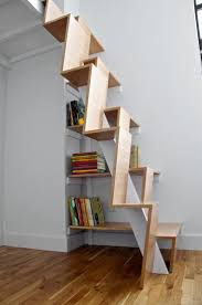 Captivating Design For Small Space Saving Staircase With Unique Brown  Wooden Staircase Be Equipped Bookshelves Under