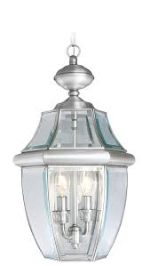 Solid Brass Outdoor Lighting Livex Lighting 2255 91 Monterey 2 Light Outdoor Brushed Nickel Finish Solid Brass Hanging Lantern With Clear Beveled Glass