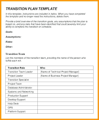Project Transition Plan Employee Template Job Role Training