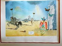salvador dali signed 1983 les papillion lady erfly 22x29 matted mixed a