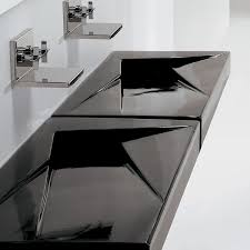 glossy ceramic double bowl bathroom trough sink in black finish with double stainless steel wall mount