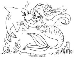 Print and color the best free dolphins color pictures. Mermaid And A Dolphin Coloring Page For Kids Sparkling Minds