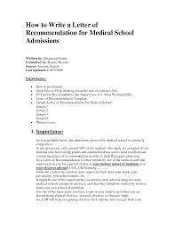 letter of recommendation medical recommendation letter  letter