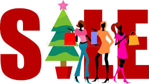 sale word christmas shopping shopping girls and sale word stock vector