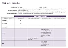 using multi level instruction for a classroom of diverse learners multilevel form example