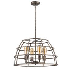 acclaim lighting rebarre 4 light antique silver drum pendant with open cage shade
